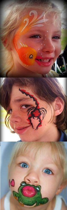 Unusual ideas for eye catching and fun face paintings on children. Great for a child's birthday party.