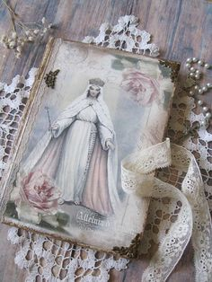 Mother Mary vintage memory book, Virgin Mary shabby chic diary, Our Mary vintage journal, Blessed Mother vintage diary, Jungfrau Maria