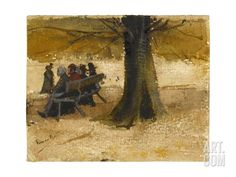 Four People on a Bench Giclee Print by Van Gogh at Art.com