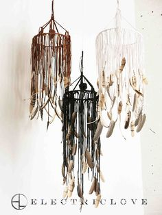 "DIY inspiration, un mobile de liens de cuir et de plumes - Pas de tuto -  Sorceress Series - Chime in Saddletan, Stone Smoke Black and Snow Quartz White, 9"" & 12"" Rings For Totokaelo WA / feather mobile / handmade / Electric Love NYC / Sacred Spaces <3 http://art-..."