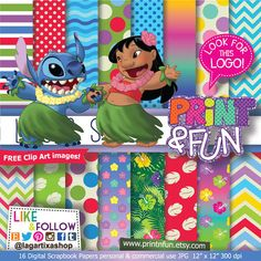 Lilo & Stitch Patterns Digital Paper jungle clip art by Printnfun, €3.00
