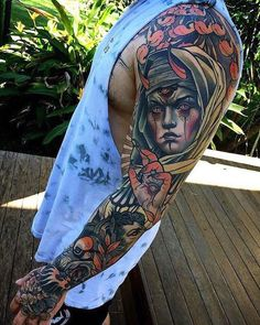 Colorful sleeve tattoo