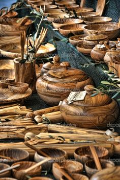 Wood  dishes  Lucca Italy these are probably olive wood