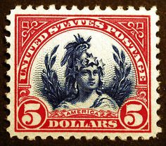 Great gift ideas for #stampcollectors - #573a $5 Carmine Lake & Dark Blue 1923 XF *MNH* Gem with Center Shift Error – Visit LittleArtTreasures.com