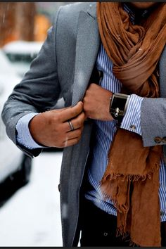 I K I - Light grey and blue w dark brown scarf.  'Baby it's cold outside' ...