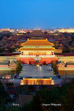 Forbidden City at dusk |