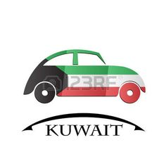 car icon made from the flag of Kuwait Asia, Flag, Flags, Icons, Science