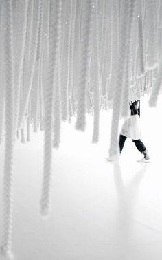 Shinji Ohmaki | Liminal Air - Descend, 2006 (detail) | nylon string, fluorescent lights, acrylic mirror