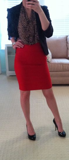 nude and black printed blouse, red skirt (or red pants would work too) and black blazer and pumps....love it! and it's all in my closet already :)