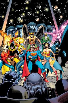 """Justice League Of America. """"Crisis On Multiple Earths"""" Vol.6 Cover) By: Mike DeCarlo & George Pérez."""