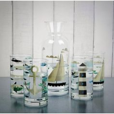 Magpie Ahoy! Glasses Set of 4: Lighthouse, Sailboat, Anchor & Fish