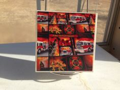 Set of four ceramic tile FIREFIGHTER coasters. http://www.reevescountrysewing.etsy.com