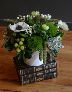 anemone, brunia, buvardia, green tricks, scabiosa pods, dusty miller, and millet