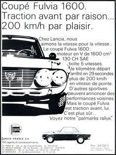 """Publicité Lancia - Virage auto """"Italie"""" février 1970."""