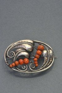 Anna Romstedt. Silver and coral brooch, 1915.