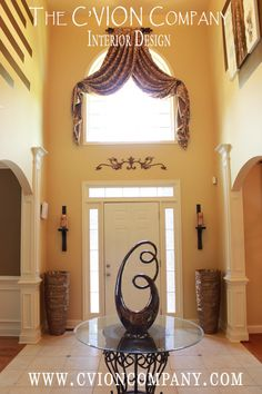 19 Remarkable Foyer Designs In Traditional Style Story Modern Interior Design – hallway Arched Window Treatments, Window Treatments Living Room, Narrow Hallway Decorating, Foyer Decorating, Decorating Ideas, Porch And Foyer, Traditional Decor, Elegant Homes, Modern Interior Design