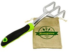 Hand Cultivator with Ergonomic Handle from Homegrown Garden Tools Best for Turning Soil  Removing Weeds Includes Burlap Tote Sack  Makes Perfect Gift * Read more  at the image link.