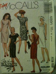 "Easy McCall's #4891. Misses' dresses, ""Fashion Basics"", size 8-12. Copyright 1990."