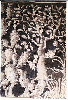Pintura Mural. Convento Agustino  de la Transfiguración y la Iglesia del Divino Salvador. Malinalco, México. Detalle de especies vegetales