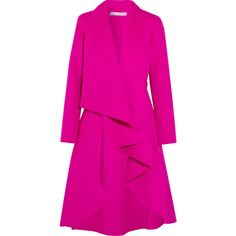 Oscar de la Renta Draped brushed wool and cashmere-blend coat ($1,995) ❤ liked on Polyvore featuring outerwear, coats, jackets, верхній одяг, bright pink, waterfall coat, cashmere blend coat, draped wool coat, ruffle wool coat and pink coats