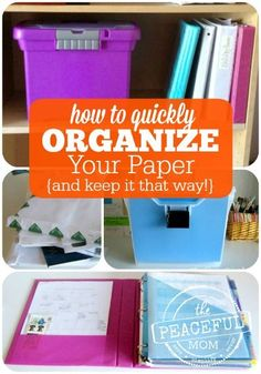 Feeling overwhelmed by all the paper piles in your home? Use my simple step-by-step process to quickly corral all that paper clutter and #organize now! -- from ThePeacefulMom.com