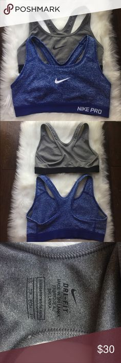 Nike sports bras Nike sports bras bundle.  Blue heathered sports bra w blue band- Nike Pro and grey w black band. EUC Nike Other