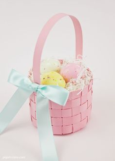 Make this cute woven paper Easter basket via a tutorial with template by Kristen Magee.