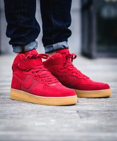 24b2fe1861d6 Air Force 1 High 07 The classic Nike Air Force 1 High featuring a red suede  upper and gum sole.