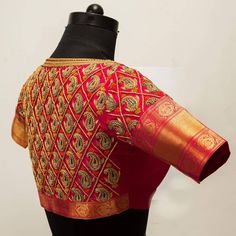Stunning red color designer blouse with mango design hand embroidery gold thread work on back of blouse. Blouse with pattu sleeves. Wedding Saree Blouse Designs, Pattu Saree Blouse Designs, Fancy Blouse Designs, Frock Patterns, Blouse Patterns, Maggam Work Designs, Ethnic Design, Work Blouse, Occasion Wear