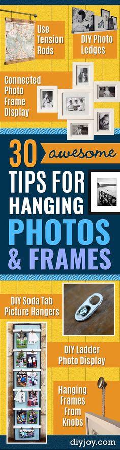 Tips en trucs voor Opknoping's en Frames - DIY Yarn wasknijper Frame - Step By Step Tutorials en Eenvoudige doe Decor van het Huis Projecten voor het versieren van Walls - Cool Wall Art Ideeën voor slaapkamer, woonkamer, Gallery Walls - Creatief en Goedkoop Ideeën voor Display's en Prints - DIY Projects and Crafts door doe-JOY http://diyjoy.com/tips-hanging-photos-frames #artsandcraftshouse,