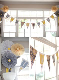 Yellow & grey baby shower....could turn it into grey and pink bridal shower. cute decoration ideas could work for both!