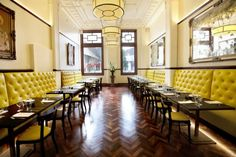 The Trustee Bar & Bistro | Furniture Options. Chesterfield buttoned banquette seating in restaurants.