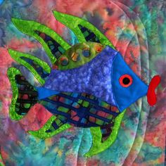 Wall Hanging Fish Quilt Art Applique Fish Lips Blue Batik Aqua Blue Lime Pink