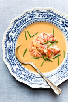 This decadent cream-based soup is perfect paired with glass of Champagne.