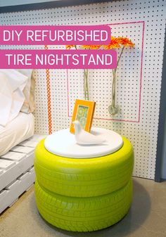 Transform old tires into a stylish nightstand—with help from a splash of inspiration and a coat of BEHR paint in Anime green. This DIY project is sure to add a modern and industrial flair to your bedroom.
