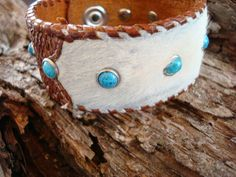 vintage hair on leather cuff ...by dirtynameranch