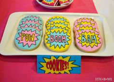 Super Heroine Party | CatchMyParty.com Girl Superhero Party, Pow, Cake Board, Heroines, Birthday Parties, Alice, Design, Fiestas, Paper Envelopes