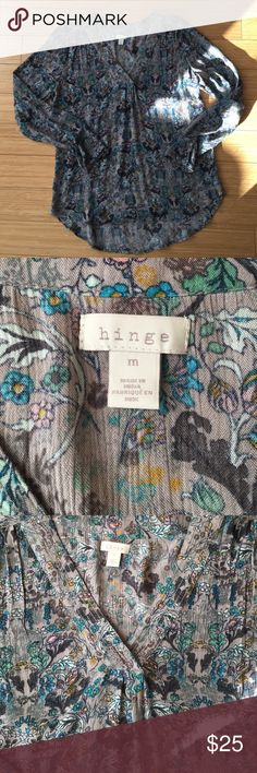 Hinge brand blouse from Nordstrom. Size medium. Hinge brand blouse from Nordstrom. 100% rayon. Drapey fit. Gray with colored pattern. Only worn one time in excellent used condition! Tops