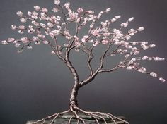 Asymetrical Cherry Blossom Beaded Bonsai Mini Wire Tree Sculpture Spring Colors