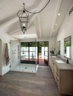 Indoor/Outdoor Bathroom - Brilliant for the beachfront home, no walking sand through the house Spanish Bathroom, Rustic Master Bathroom, Modern Bathroom, Master Bathrooms, White Bathroom, Spanish Style Homes, Spanish House, Spanish Style Interiors, Indoor Outdoor Bathroom