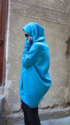 NEW Lined Warm Asymmetric Extravagant Turquoise Hooded Coat / Quilted Lined…
