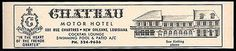 Chateau Motor Hotel Ad New Orleans Louisiana Pool AC 1964 Roadside Ad Travel