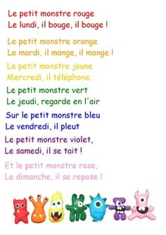 The monstrous weekdays French Language Lessons, French Language Learning, French Lessons, French Teaching Resources, Teaching French, French Basics, Basic French Words, French Poems, French Practice