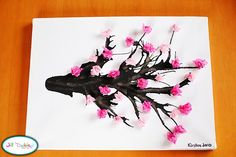 craft: cherry blossom branch: easy, preschool art, blow paint through a straw Tree Crafts, Crafts To Do, Crafts For Kids, Arts And Crafts, Flower Crafts, Flower Art, Spring Projects, Spring Crafts, Craft Projects