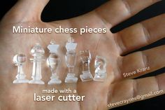 Miniature chess pieces made with a laser cutter