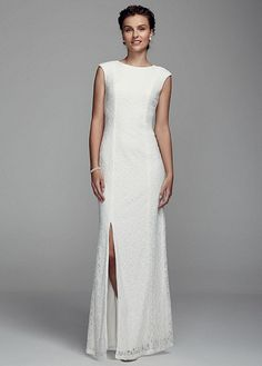 Long Cap Sleeve Beaded Lace Gown with Slit 231M48340