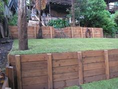 Wood retaining wall.