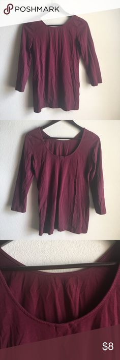 H&M 1/4 sleeve Boat neck scoop back top Maroon colored cotton top scoop back and neckline. H&M basics collection H&M Tops Tees - Long Sleeve