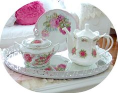 Pretty Pink Rose Biscuit Jar-coffee pot, shabby chic, pink roses, mosaic, romantic, cup and sauce,