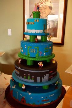Mario world cake !  Love the different levels!